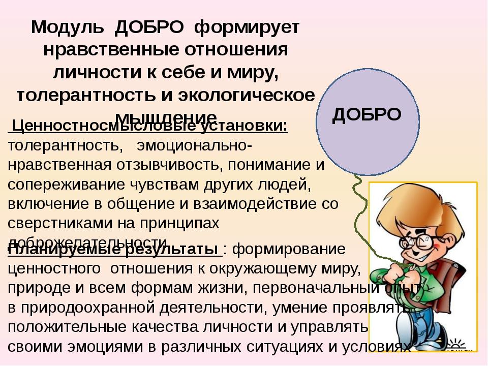 ДОБРО Модуль ДОБРО формирует нравственные отношения личности к себе и миру,...