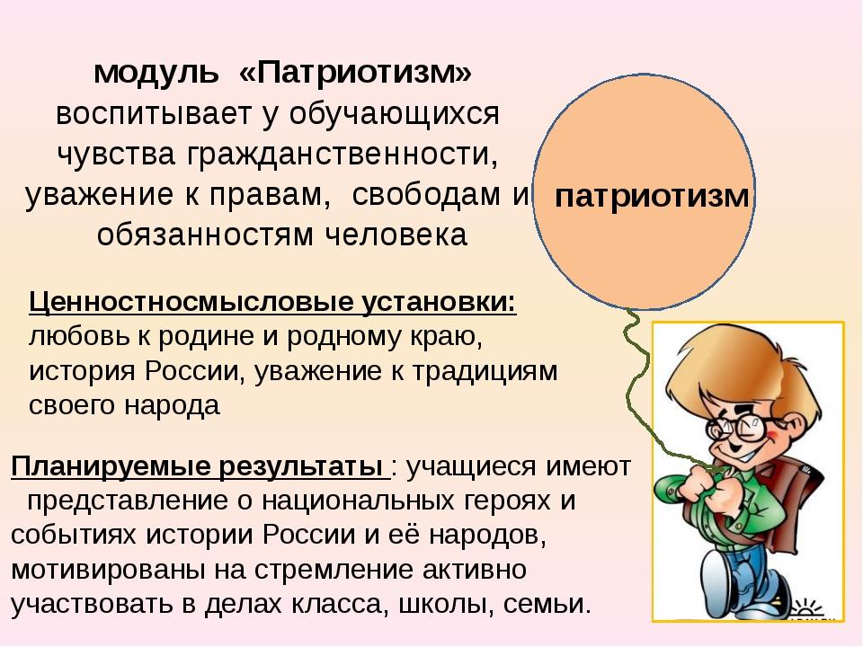 патриотизм модуль «Патриотизм» воспитывает у обучающихся чувства гражданстве...