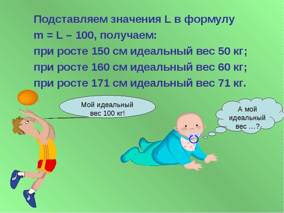 Подставляем значения L в формулу m = L – 100, получаем: при росте 150 см иде...