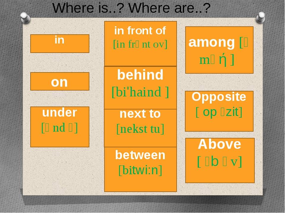 in between [bitwi:n] on Above [ ᵊb ᴧv] behind [bi'haind ] under [ᴧnd ᵊ] in fr...