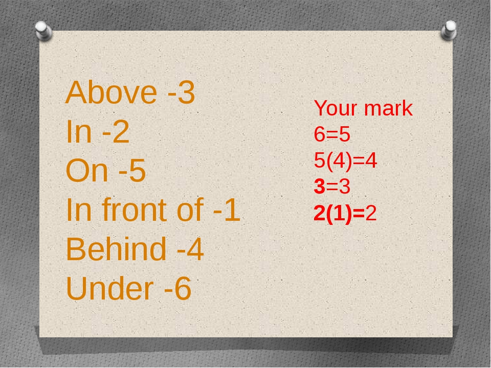 Above -3 In -2 On -5 In front of -1 Behind -4 Under -6 Your mark 6=5 5(4)=4 3...