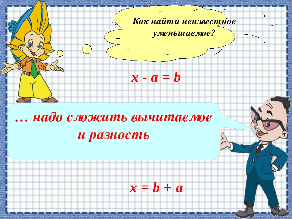 Как найти неизвестное уменьшаемое? х - а = b … надо сложить вычитаемое и разн...