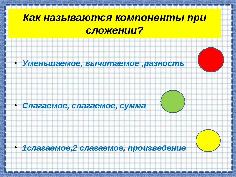Как называются компоненты при сложении? Уменьшаемое, вычитаемое ,разность Сла...