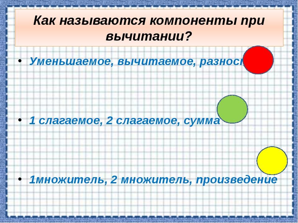 Как называются компоненты при вычитании? Уменьшаемое, вычитаемое, разность 1...