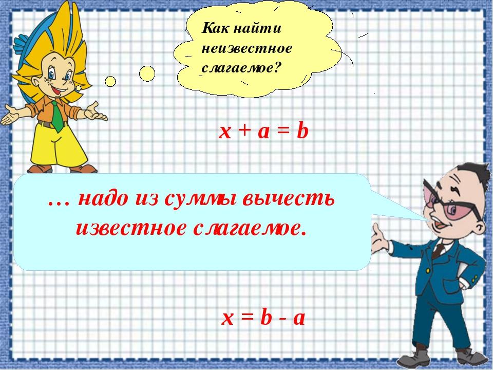 Как найти неизвестное слагаемое? х + а = b … надо из суммы вычесть известное...