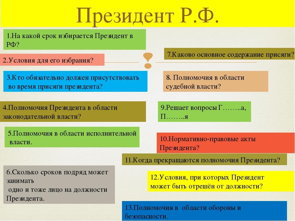 Президент Р.Ф. 1.На какой срок избирается Президент в РФ? 2.Условия для его и...