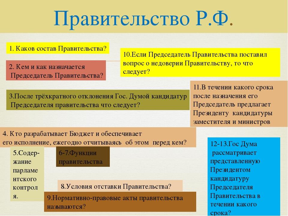 Правительство Р.Ф. 1. Каков состав Правительства? 2. Кем и как назначается Пр...