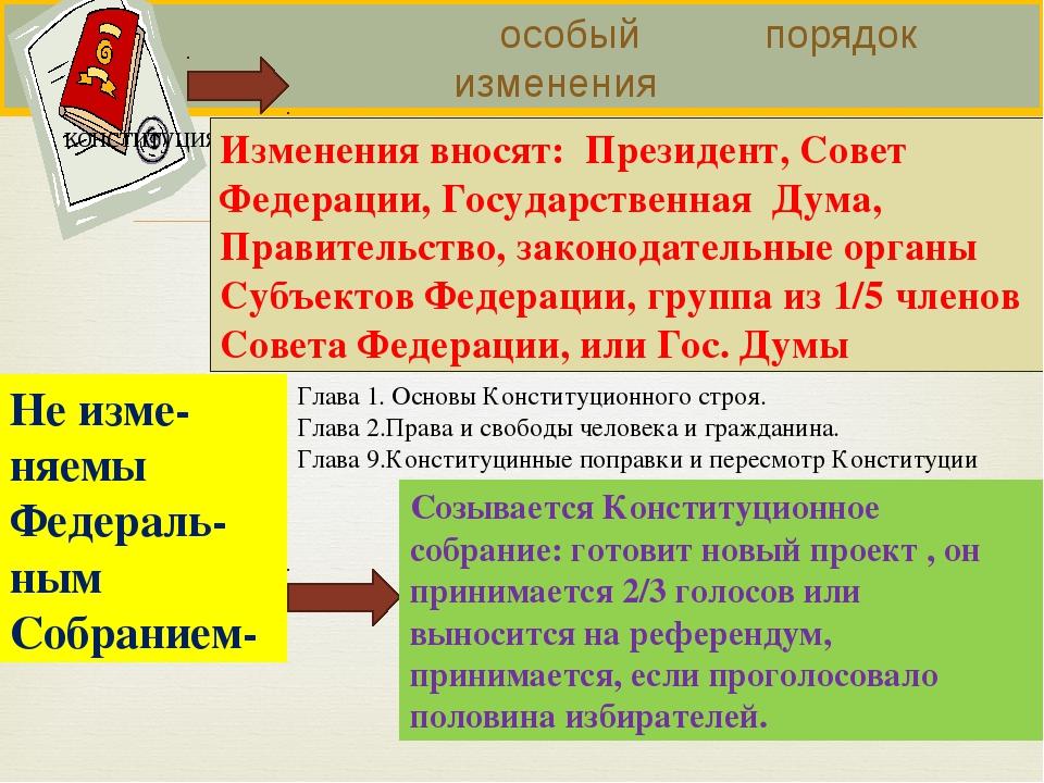 особый порядок изменения Изменения вносят: Президент, Совет Федерации, Госуд...