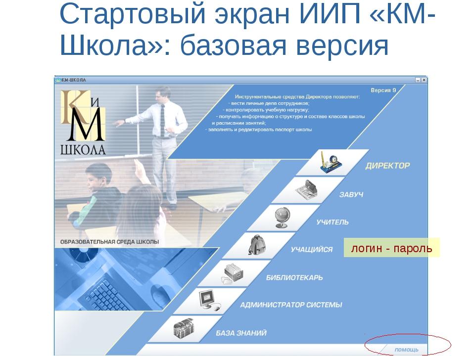 Стартовый экран ИИП «КМ-Школа»: базовая версия логин - пароль