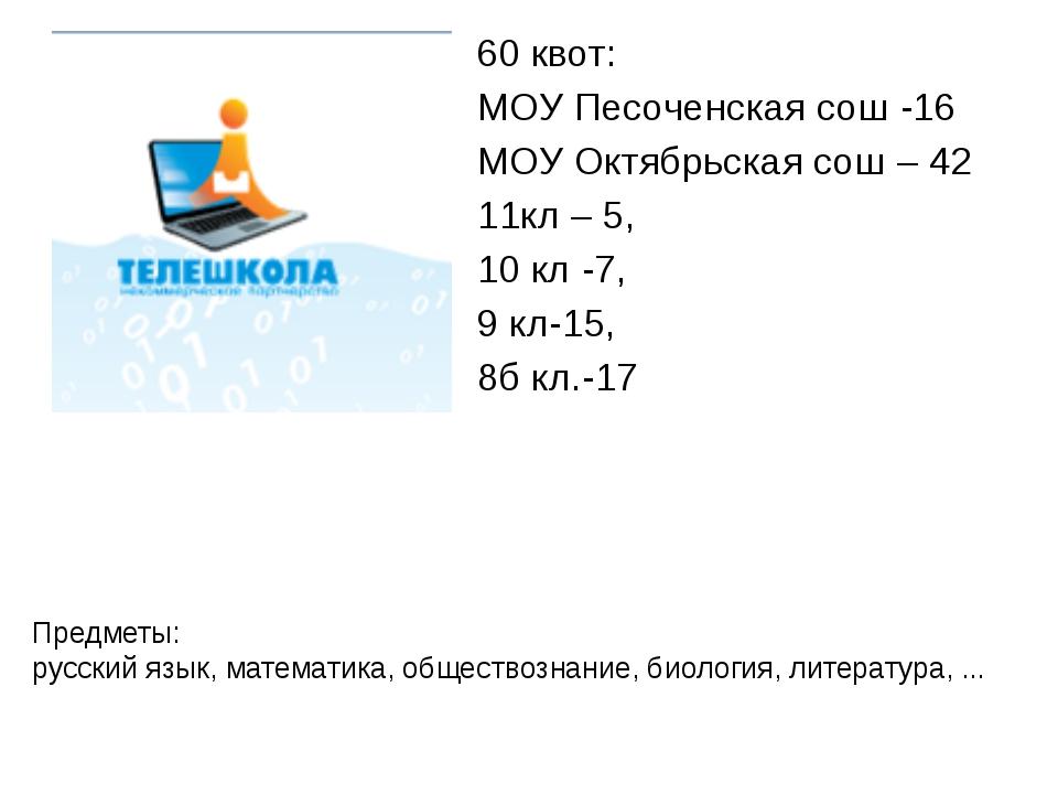 60 квот: МОУ Песоченская сош -16 МОУ Октябрьская сош – 42 11кл – 5, 10 кл -7,...