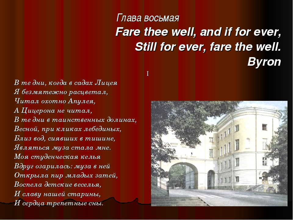 Глава восьмая Fare thee well, and if for ever, Still for ever, fare the well....