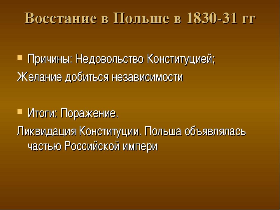 Восстание в Польше в 1830-31 гг Причины: Недовольство Конституцией; Желание д...