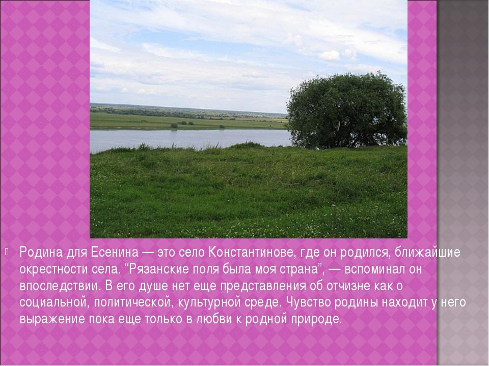 Родина для Есенина — это село Константинове, где он родился, ближайшие окрест...