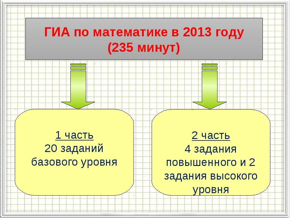 ГИА по математике в 2013 году (235 минут) 1 часть 20 заданий базового уровня...
