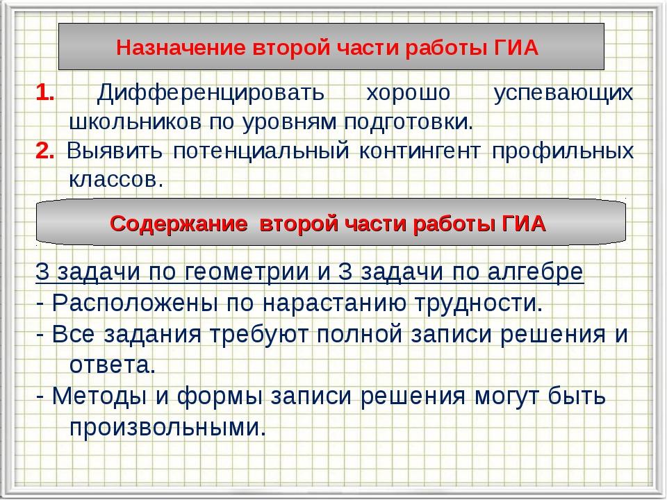 Назначение второй части работы ГИА 1. Дифференцировать хорошо успевающих школ...