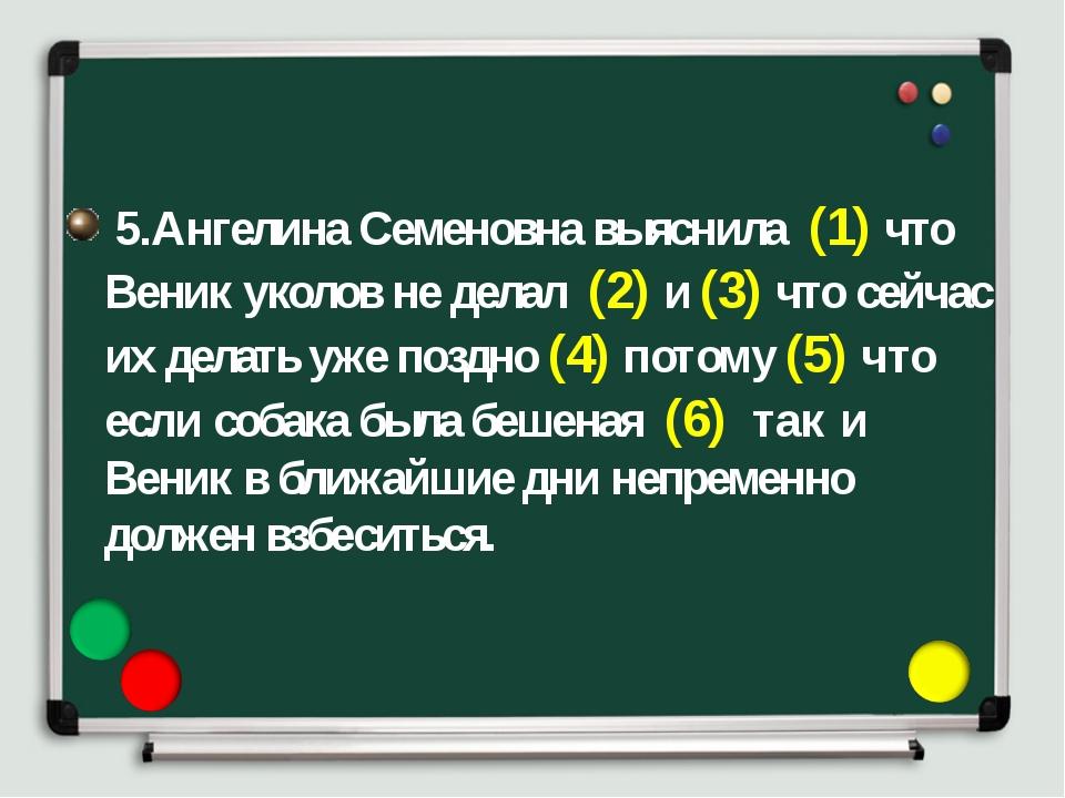 5.Ангелина Семеновна выяснила (1) что Веник уколов не делал (2) и (3) что се...