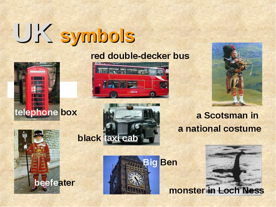 UK symbols telephone box red double-decker bus monster in Loch Ness beefeater...