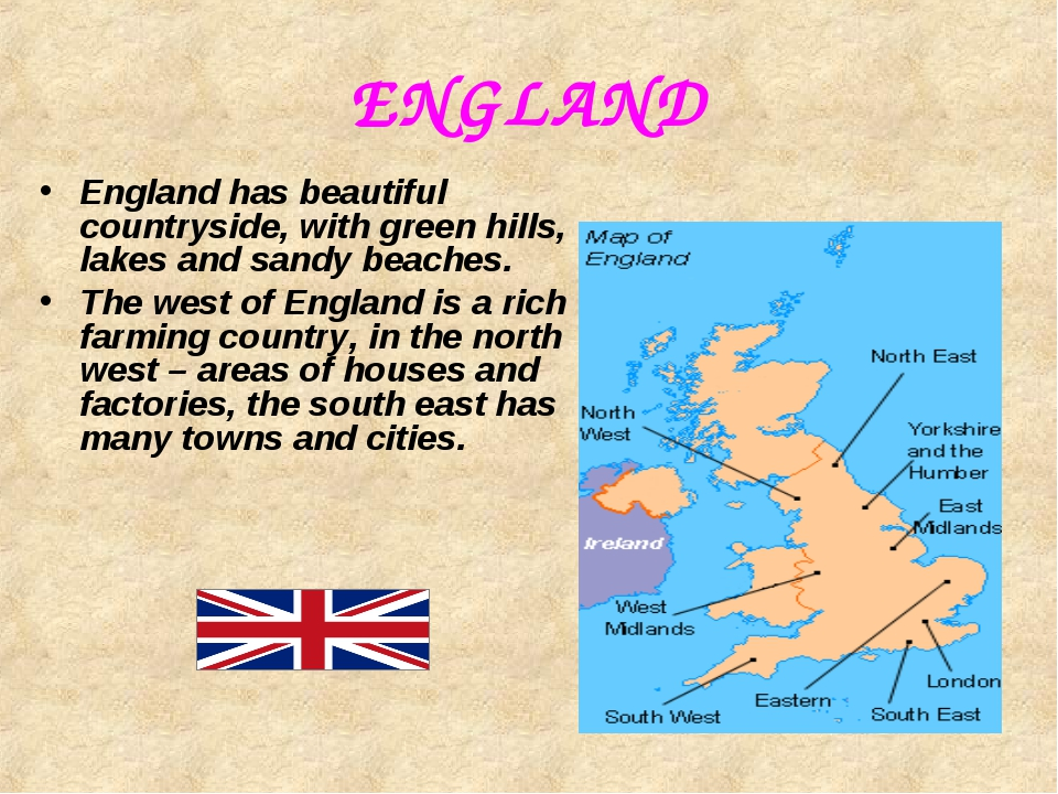 ENGLAND England has beautiful countryside, with green hills, lakes and sandy...