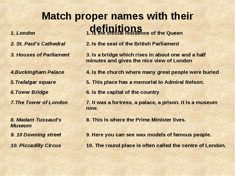 Match proper names with their definitions