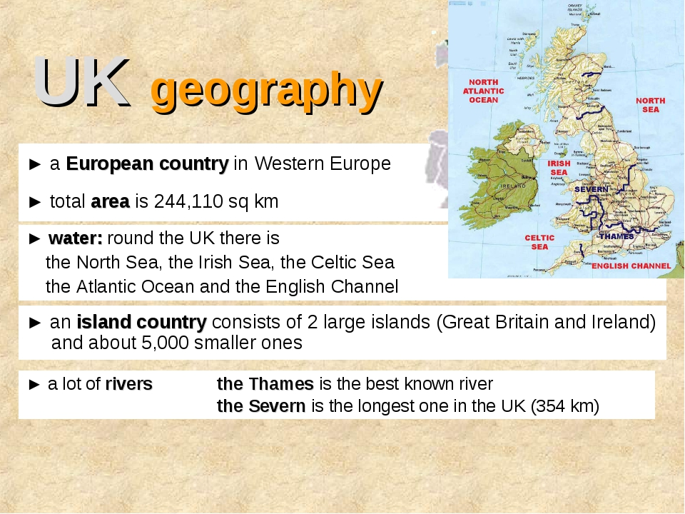 UK geography ► an island country consists of 2 large islands (Great Britain a...