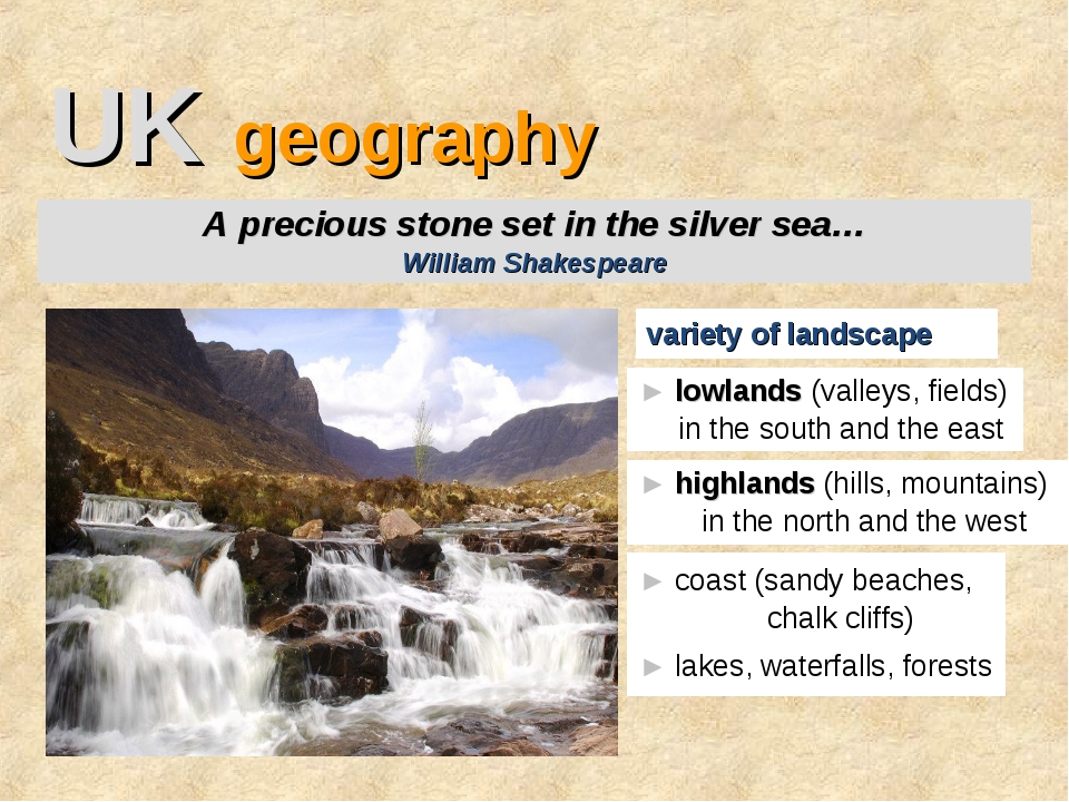 UK geography variety of landscape A precious stone set in the silver sea… Wil...