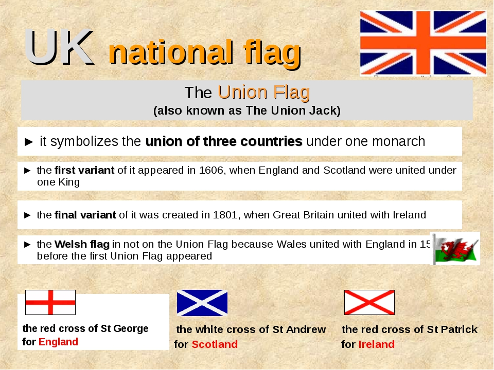 UK national flag The Union Flag (also known as The Union Jack) ► it symbolize...