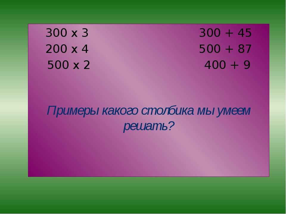 300 х 3 300 + 45 200 х 4 500 + 87 500 х 2 400 + 9 Примеры какого столбика мы...
