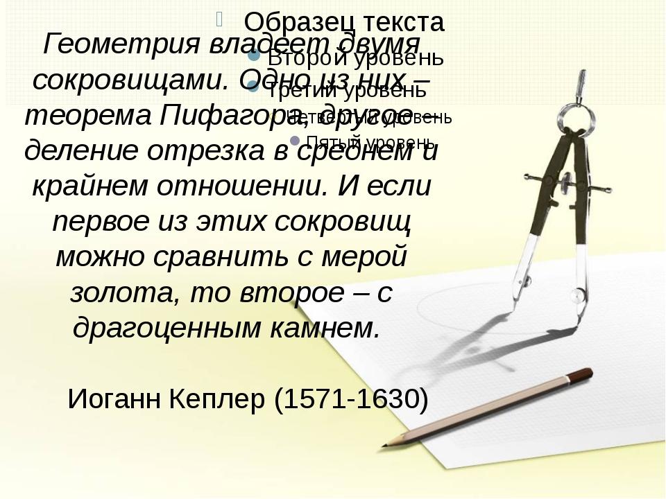о Геометрия владеет двумя сокровищами. Одно из них – теорема Пифагора, другое...
