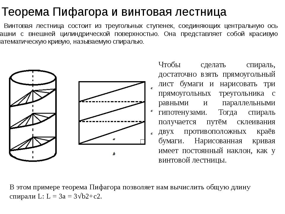 Теорема Пифагора и винтовая лестница Винтовая лестница состоит из треугольны...