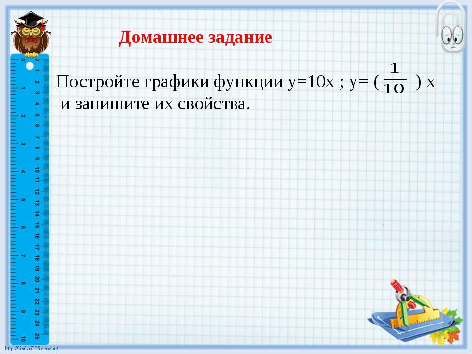 Домашнее задание Постройте графики функции y=10x ; y= ( ) x и запишите их сво...