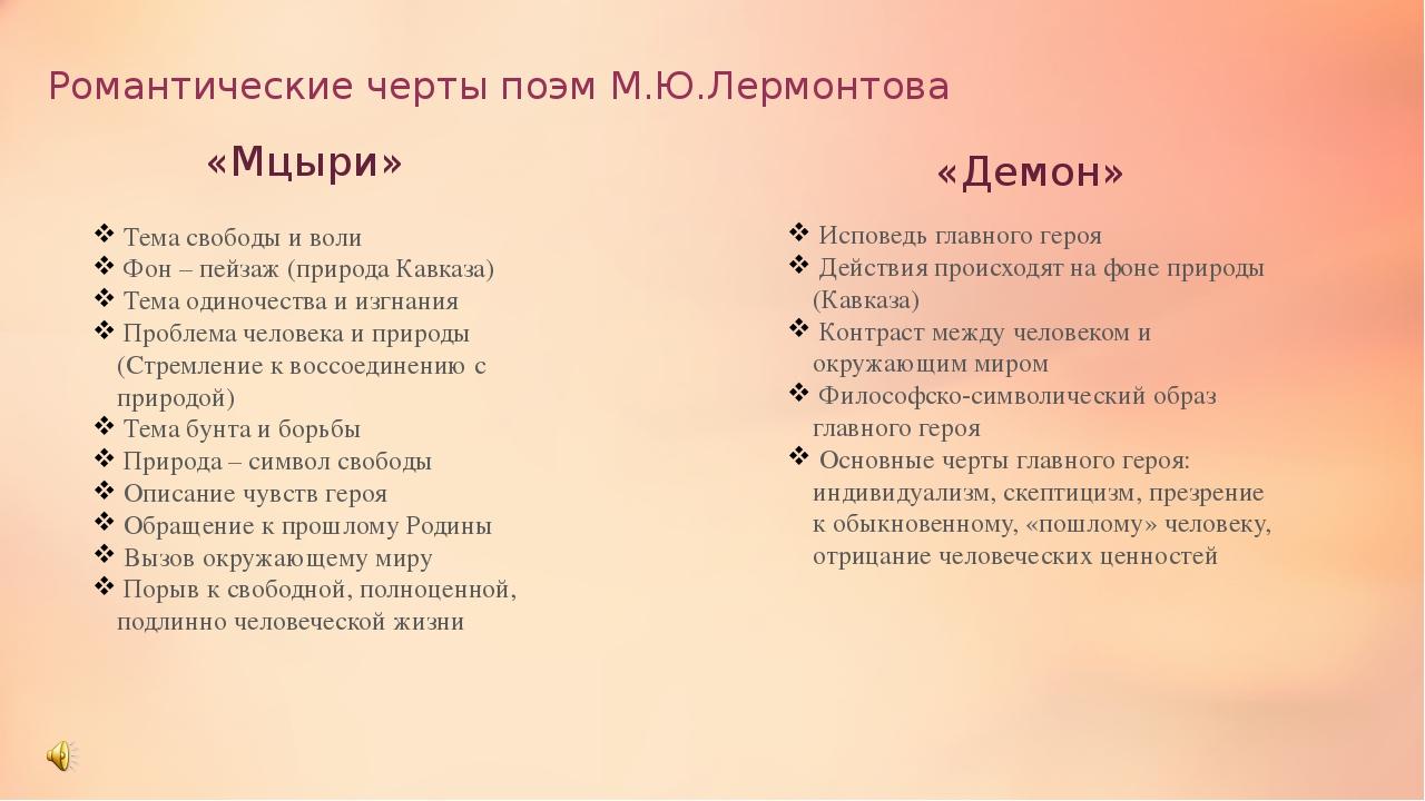 Романтические черты поэм М.Ю.Лермонтова «Мцыри» «Демон» Тема свободы и воли Ф...