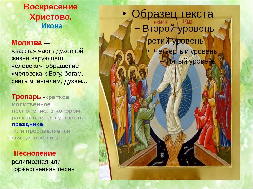 Воскресение Христово. Икона Молитва— «важнаячасть духовной жизни верующего...