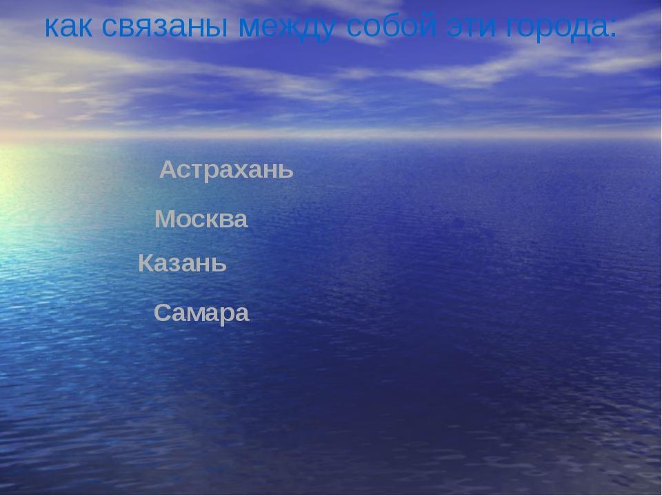 Москва Астрахань Казань Самара как связаны между собой эти города: