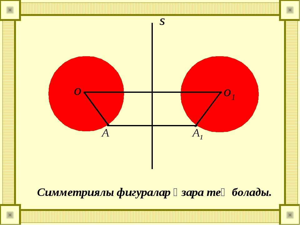 о о1 А А1 Симметриялы фигуралар өзара тең болады.