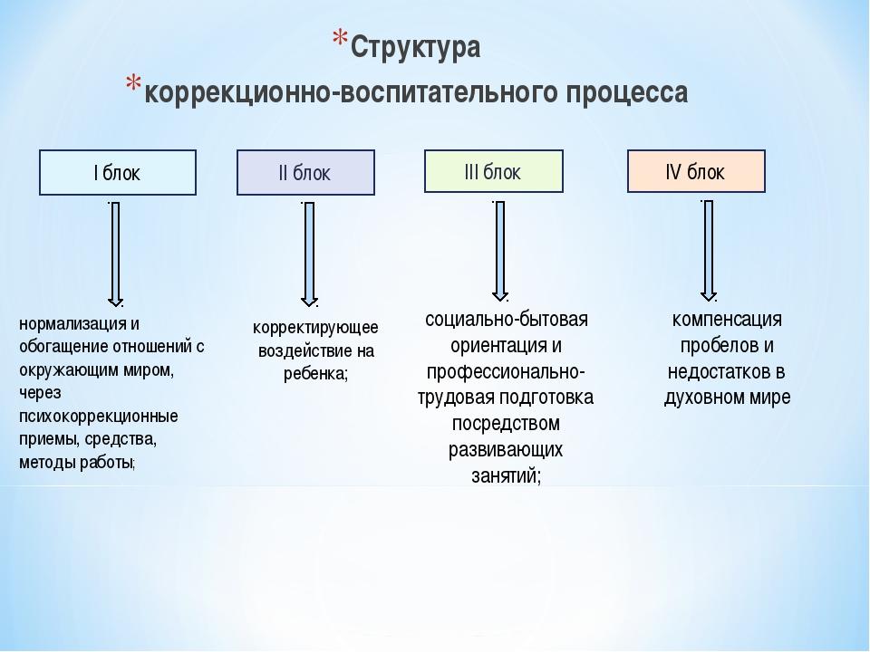 Структура коррекционно-воспитательного процесса I блок II блок III блок IV бл...
