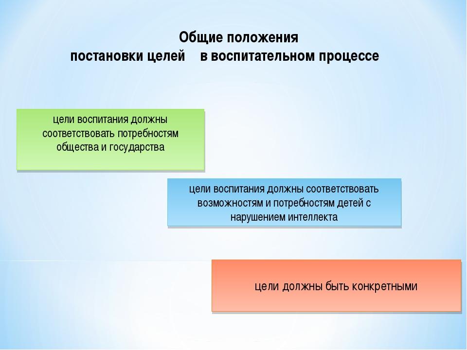 Общие положения постановки целей в воспитательном процессе цели воспитания д...