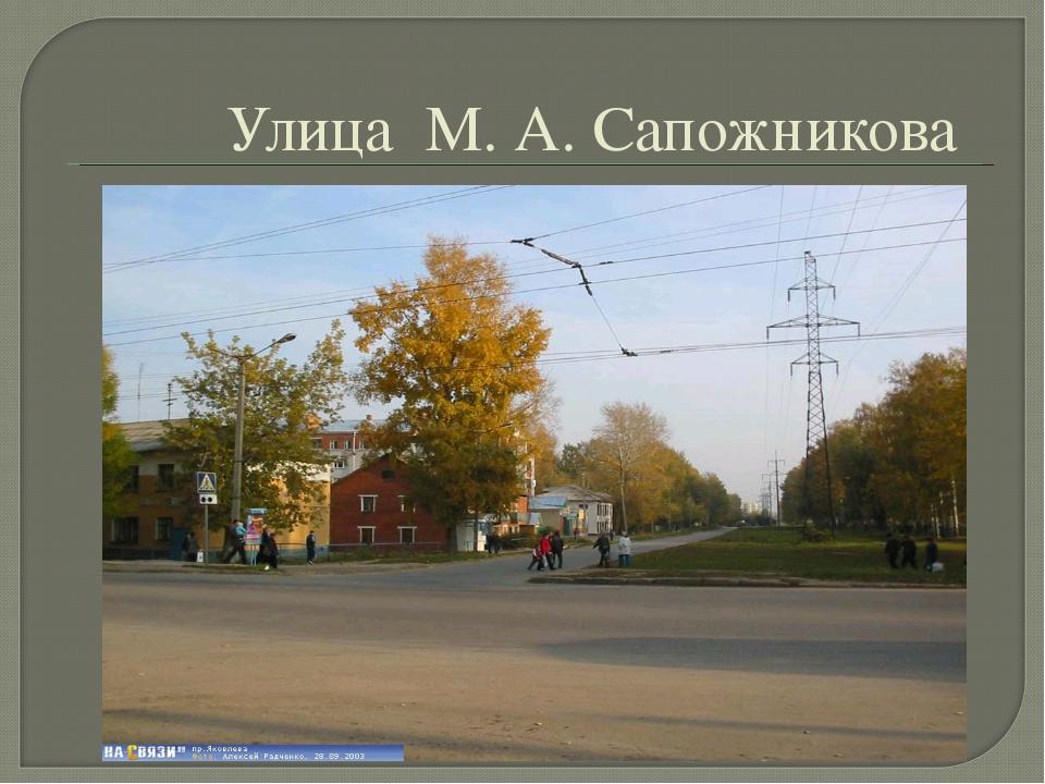 Улица  М. А. Сапожникова