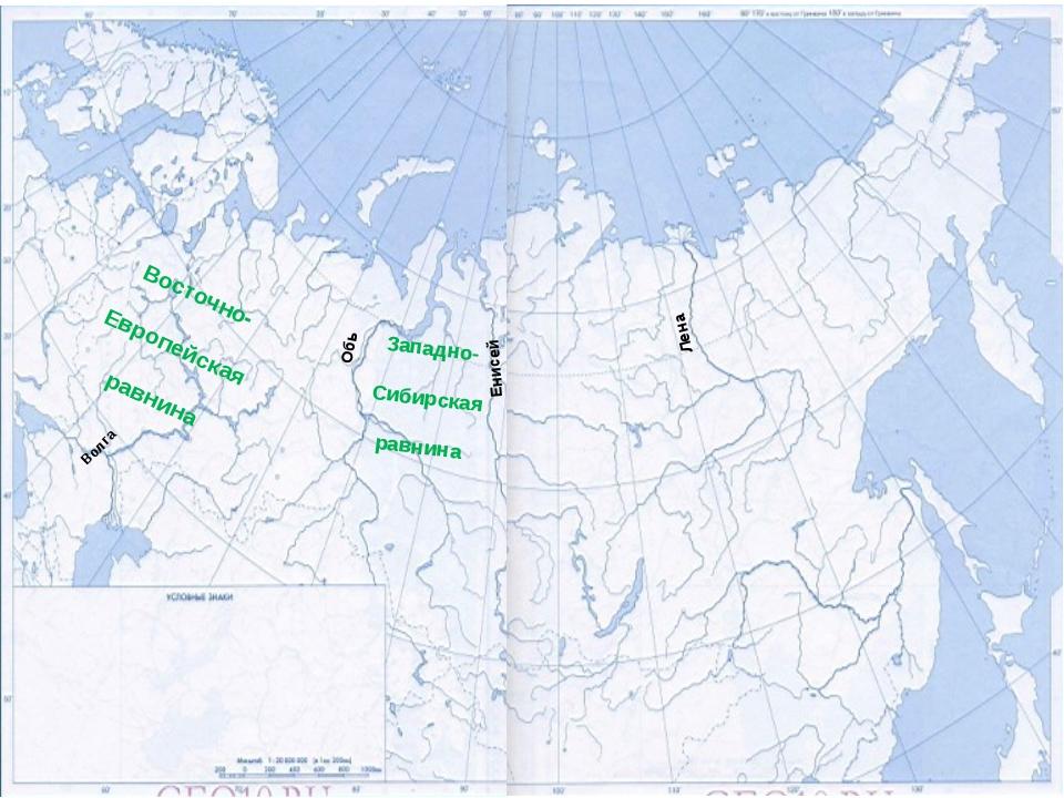 Лена Енисей Обь Восточно- Европейская равнина Западно- Сибирская равнина Волга