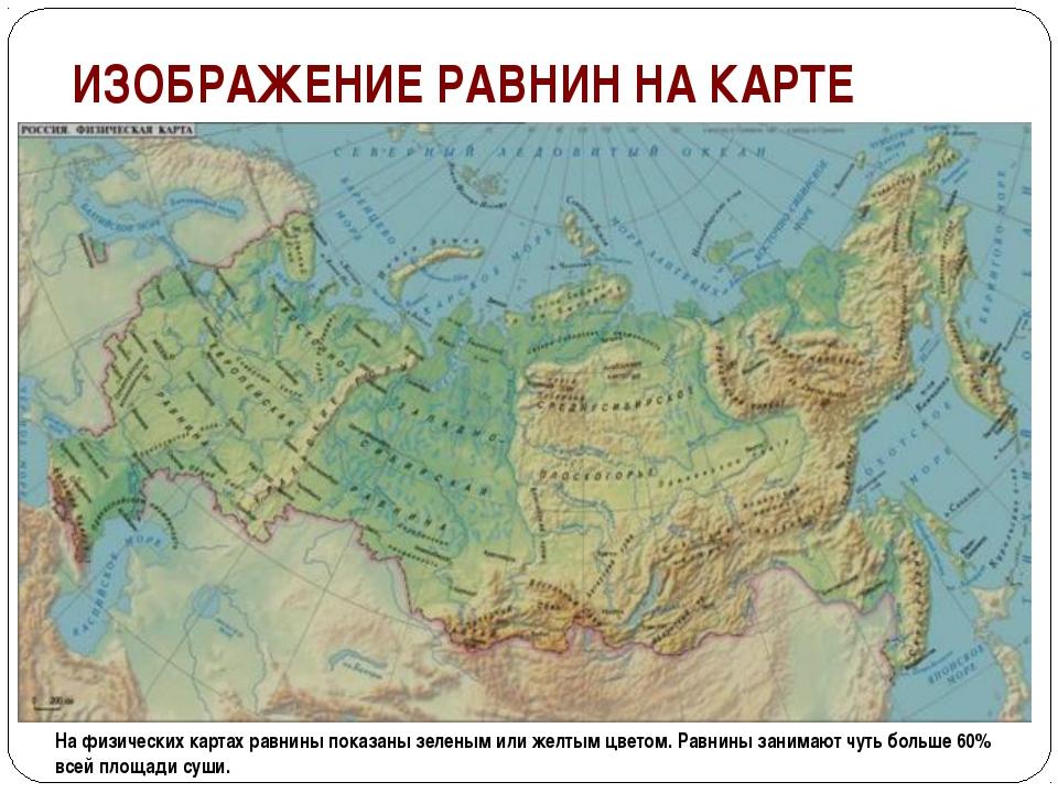 ИЗОБРАЖЕНИЕ РАВНИН НА КАРТЕ На физических картах равнины показаны зеленым или...