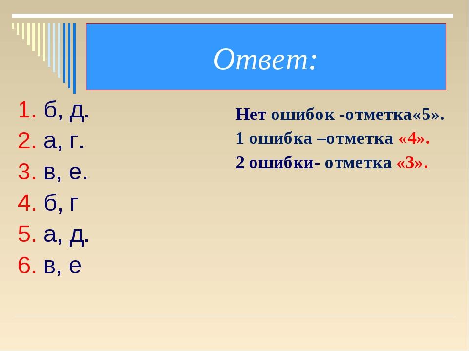Ответ: 1. б, д. 2. а, г. 3. в, е. 4. б, г 5. а, д. 6. в, е Нет ошибок -отметк...