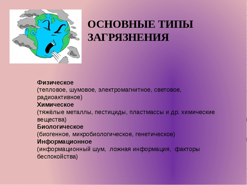 ОСНОВНЫЕ ТИПЫ ЗАГРЯЗНЕНИЯ Физическое (тепловое, шумовое, электромагнитное, св...