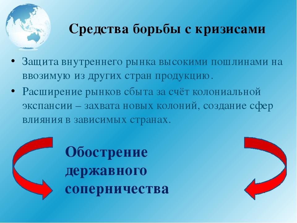 Средства борьбы с кризисами Защита внутреннего рынка высокими пошлинами на вв...