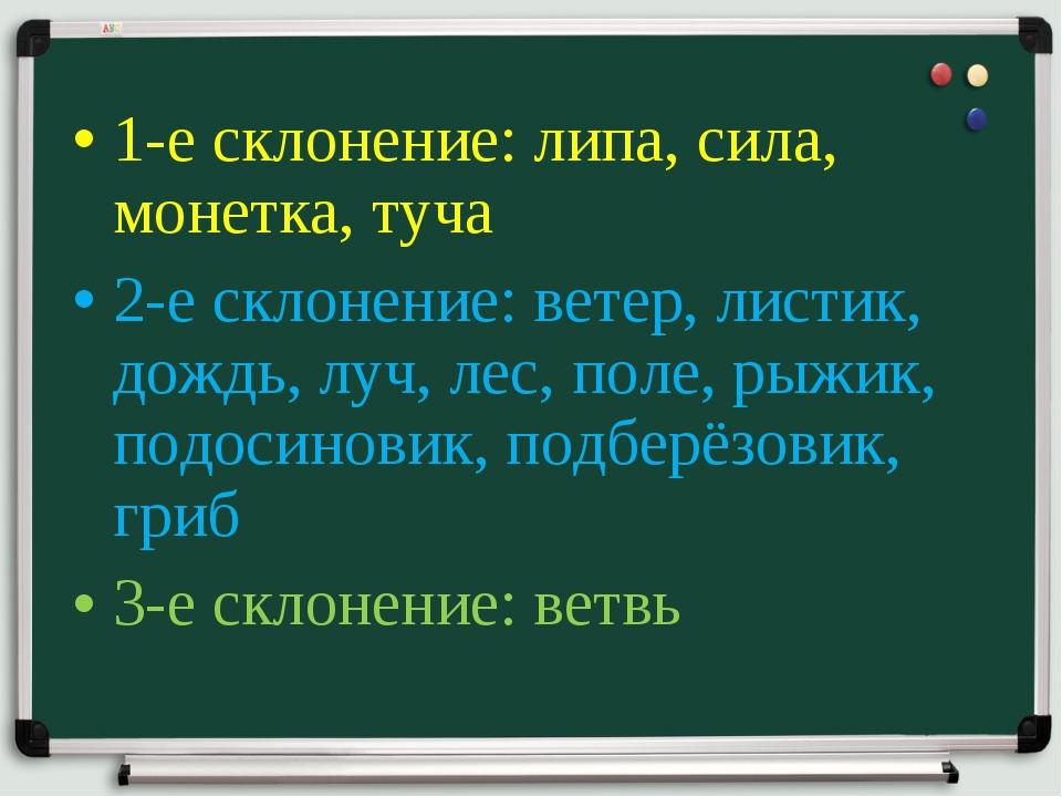 1-е склонение: липа, сила, монетка, туча 2-е склонение: ветер, листик, дождь,...