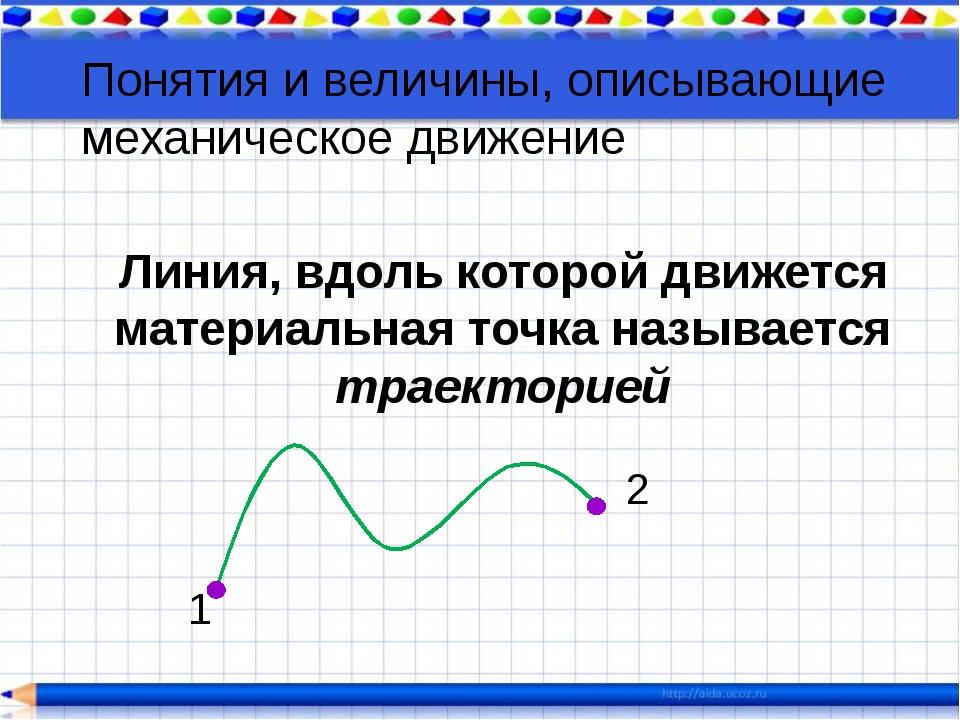 Линия, вдоль которой движется материальная точка называется траекторией 2 1 П...