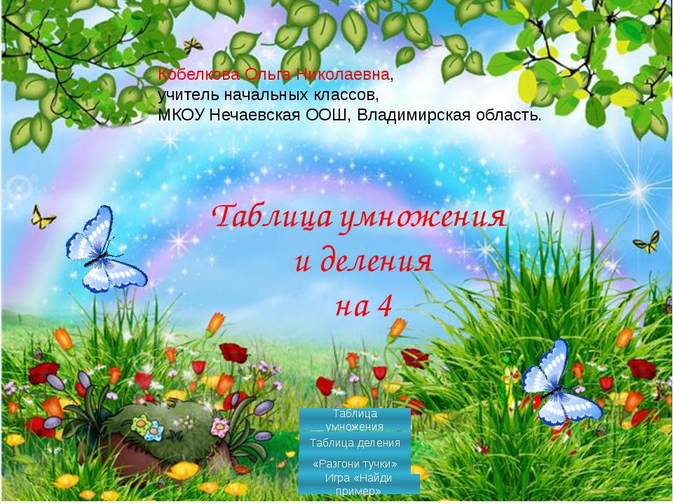 Таблица умножения и деления на 4 Кобелкова Ольга Николаевна, учитель начальн...