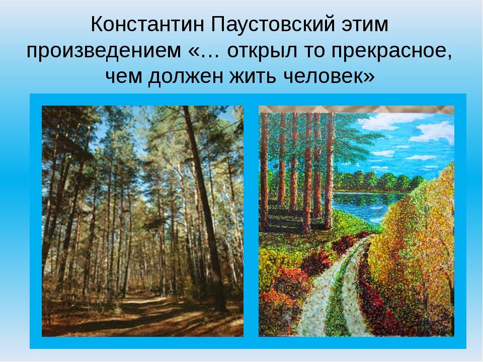 Константин Паустовский этим произведением «… открыл то прекрасное, чем должен...