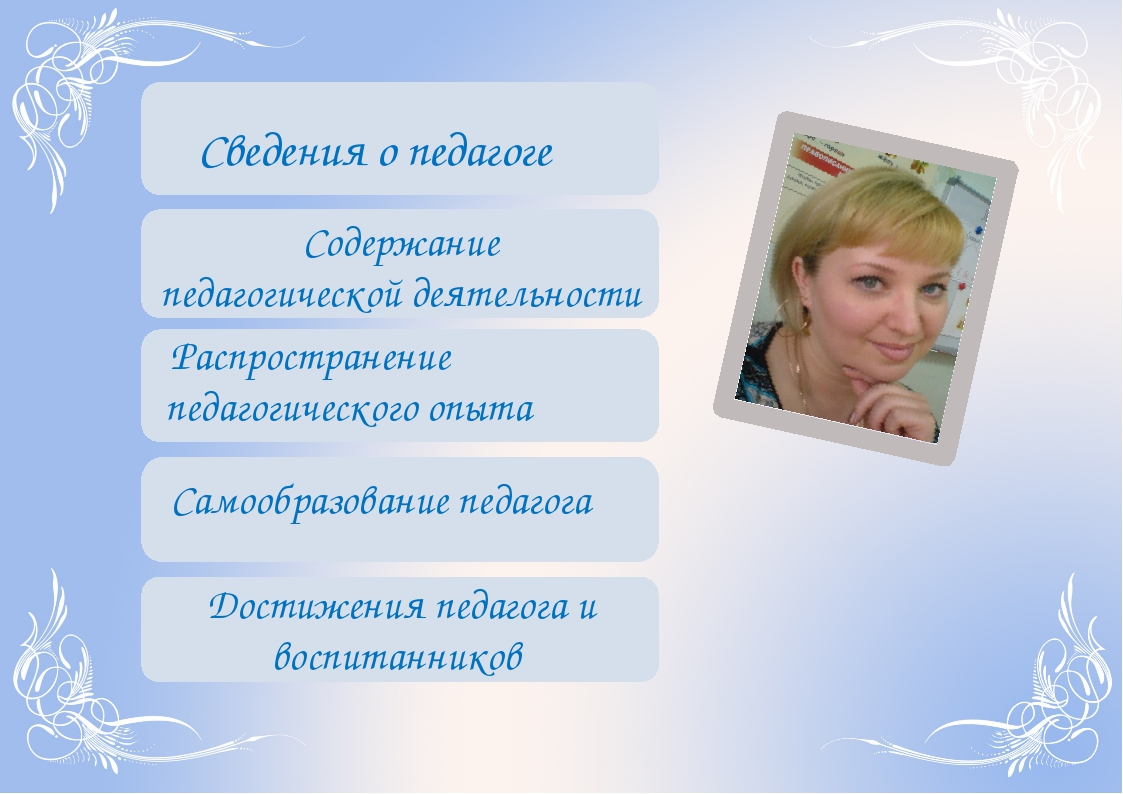 Содержание педагогической деятельности Сведения о педагоге Распространение п...