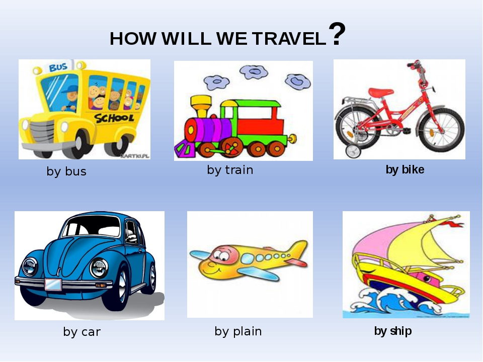 HOW WILL WE TRAVEL? by bus by train by ship by bike by car by plain