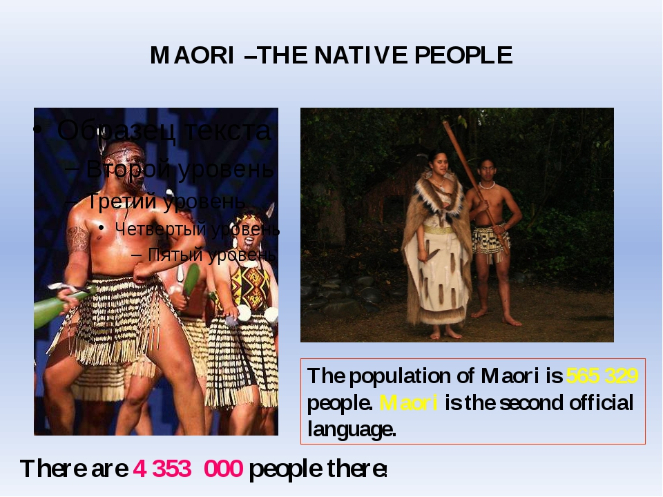 The population of Maori is 565 329 people. Maori is the second official langu...