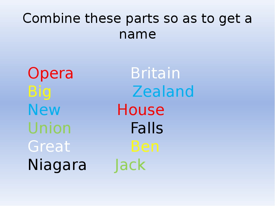 Combine these parts so as to get a name Opera	 Britain Big	 Zealand New	 Hous...
